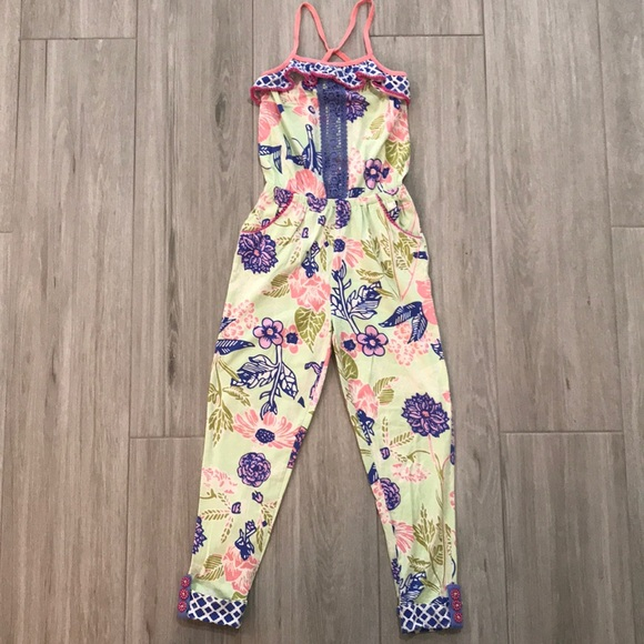 Matilda Jane Floral Horseshoe Jumpsuit Size 10